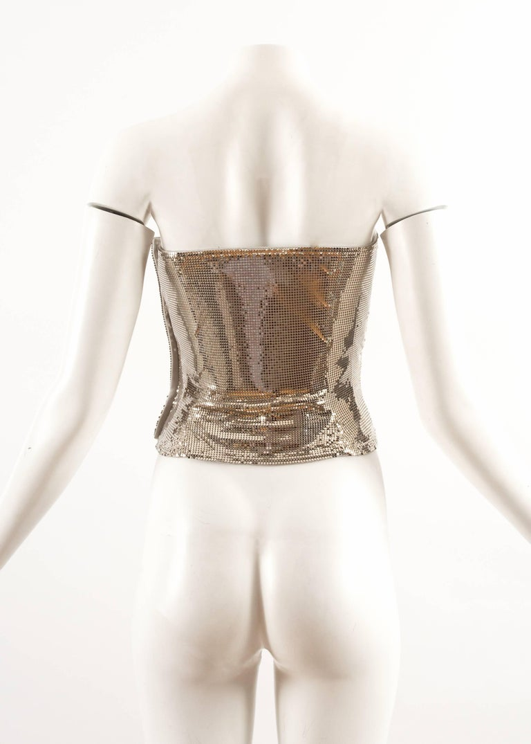 Gianni Versace Autumn-Winter 1998 silver metal mesh corset For Sale 2