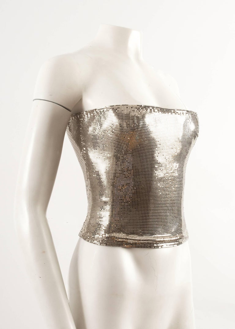 Women's Gianni Versace Autumn-Winter 1998 silver metal mesh corset For Sale