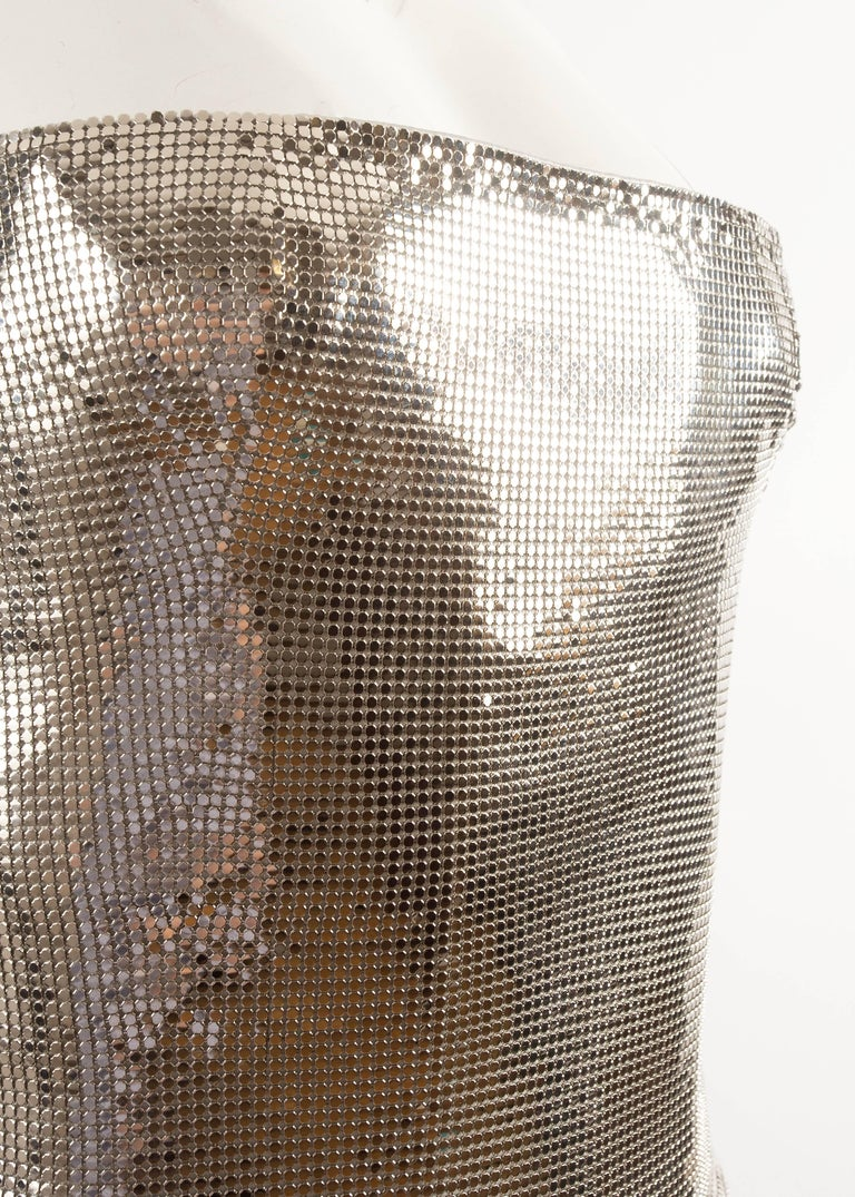 Gianni Versace Autumn-Winter 1998 silver metal mesh corset For Sale 1