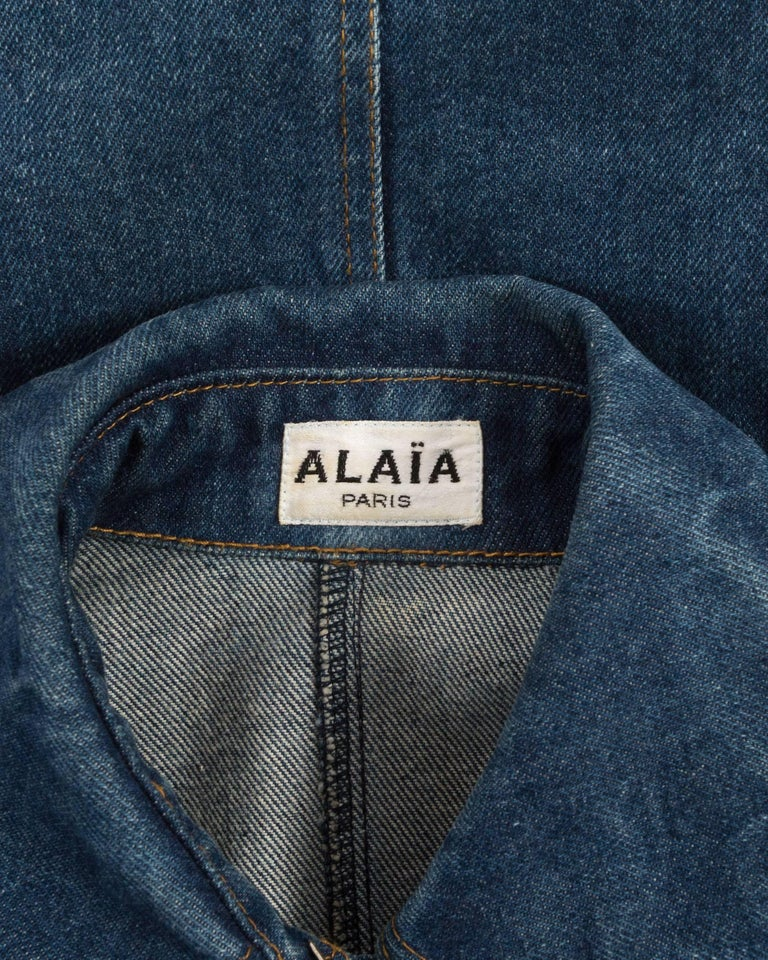 Alaia Autumn-Winter 1985 blue denim zipper dress For Sale 2