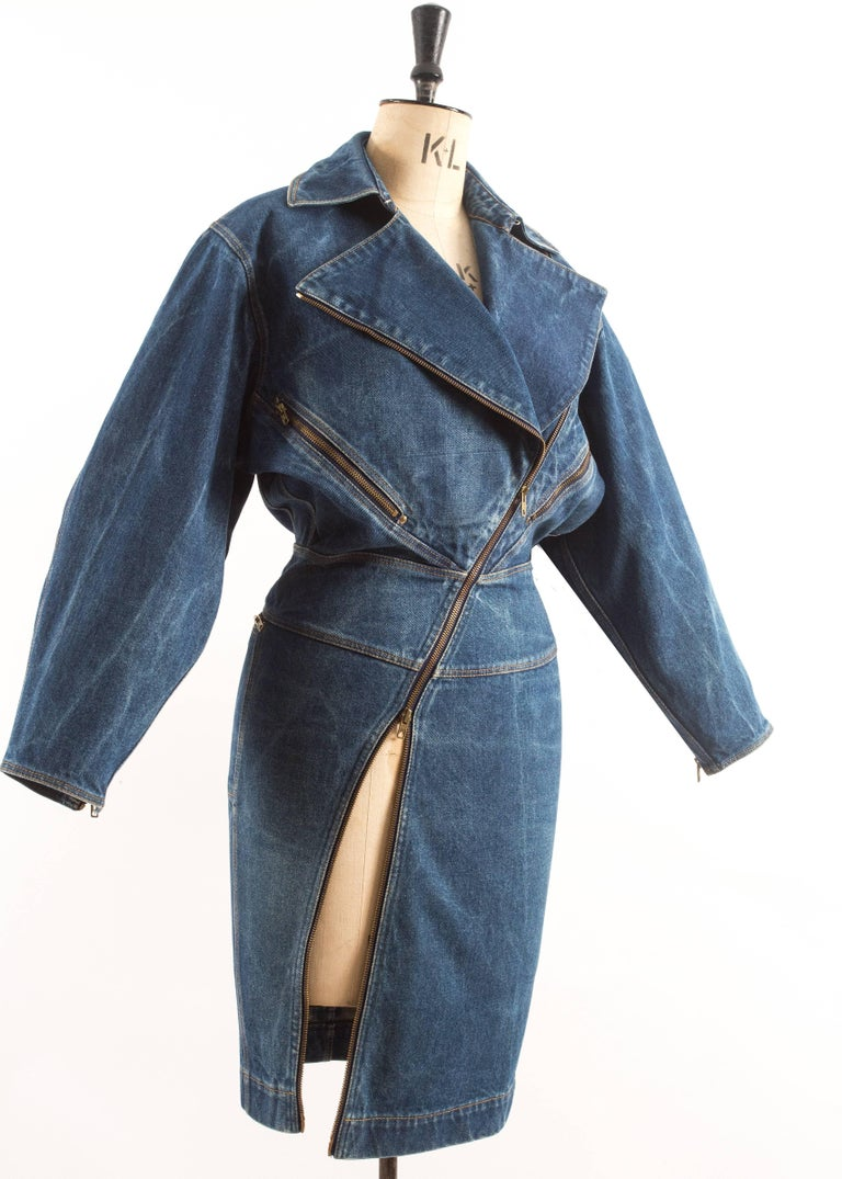 Alaia Autumn-Winter 1985 blue denim zipper dress In Good Condition For Sale In London, GB