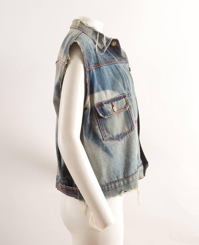 Vivienne Westwood Autumn-Winter 1992 Marlene Dietrich print denim vest In Good Condition For Sale In London, GB
