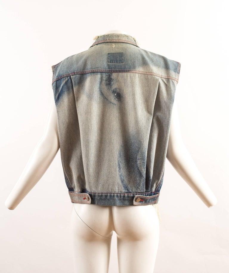 Women's or Men's Vivienne Westwood Autumn-Winter 1992 Marlene Dietrich print denim vest For Sale