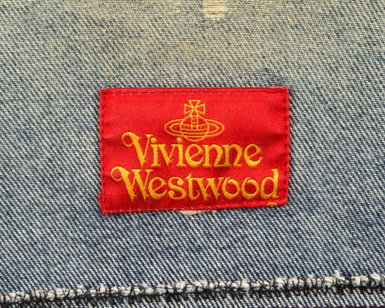 Vivienne Westwood Autumn-Winter 1992 Marlene Dietrich print denim vest For Sale 1