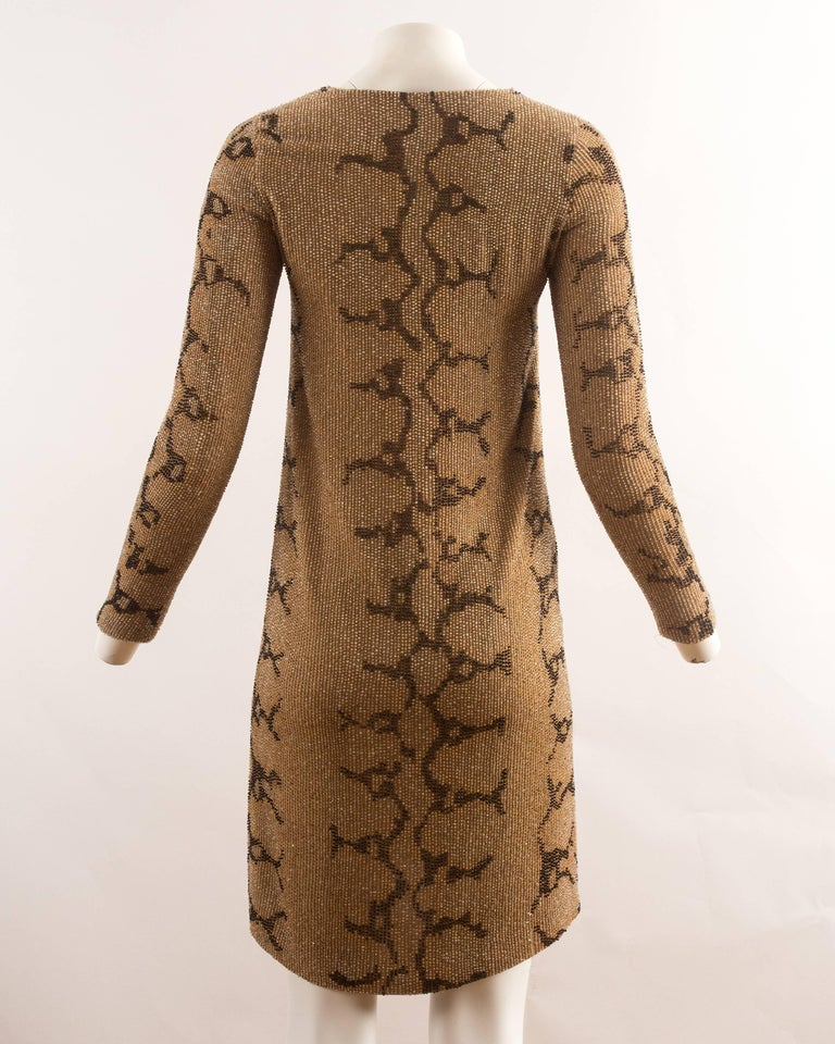 Tom Ford for Gucci Spring-Summer 2000 beaded python print shift dress For Sale 1