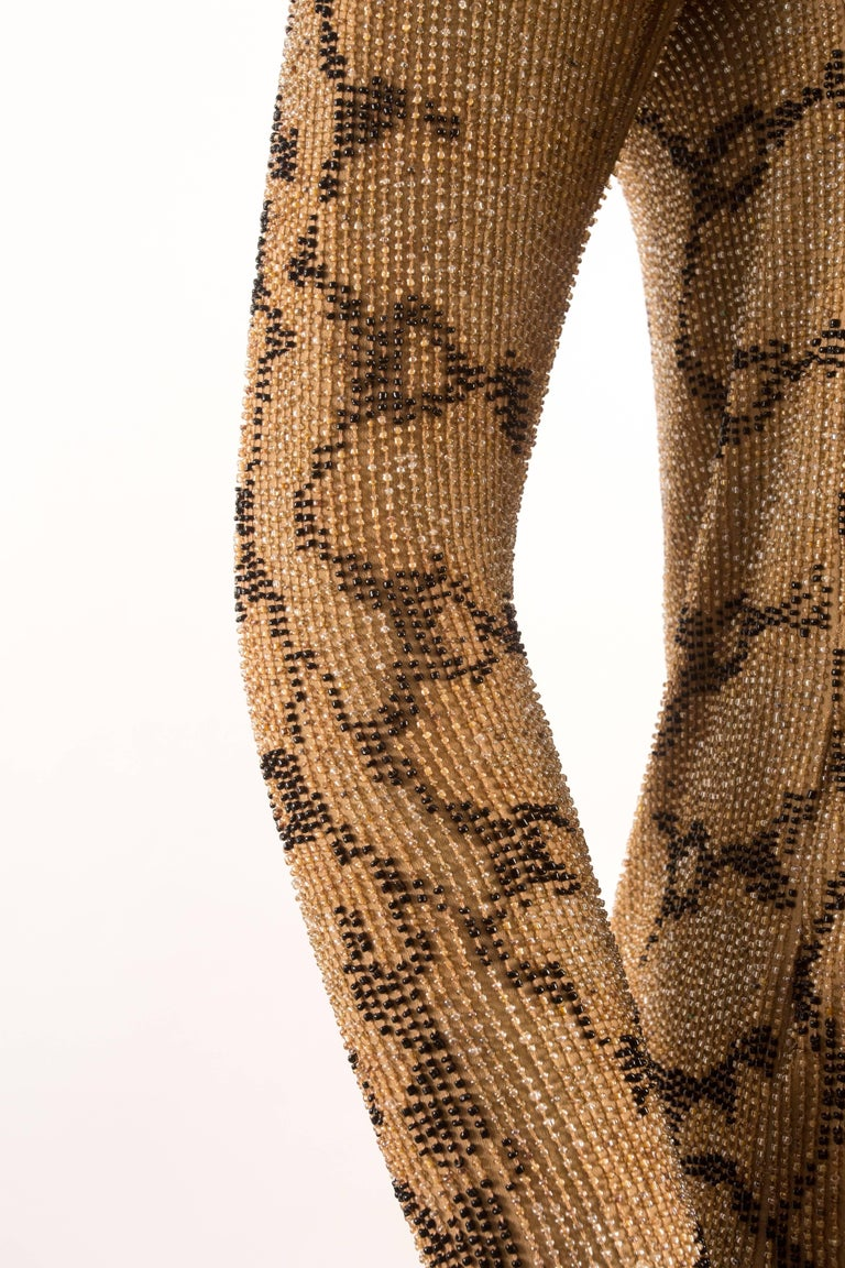 Tom Ford for Gucci Spring-Summer 2000 beaded python print shift dress In Excellent Condition For Sale In London, GB