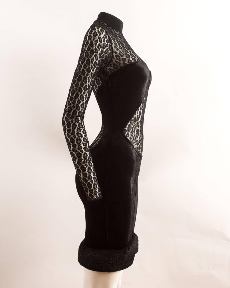 Alaia Autumn-Winter 1991 black velvet leopard lace evening dress 8