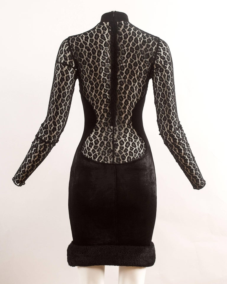Alaia Autumn-Winter 1991 black velvet leopard lace evening dress 9