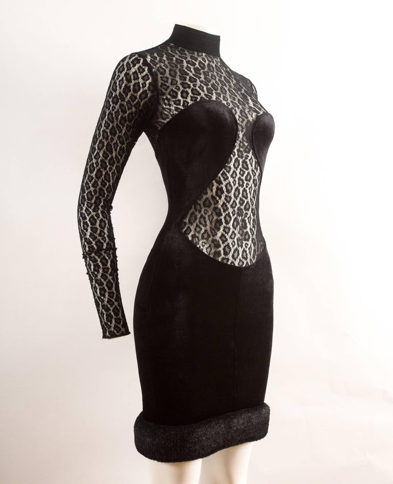 Alaia Autumn-Winter 1991 black velvet leopard lace evening dress 4