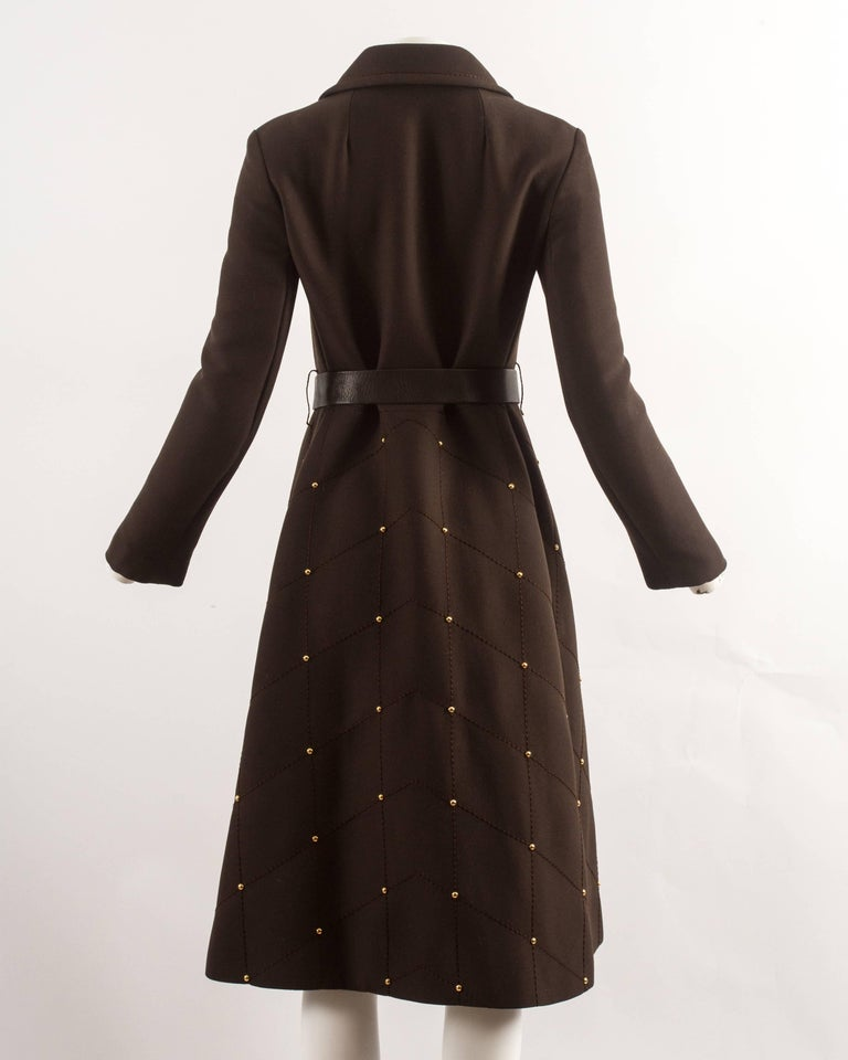 1960s brown wool coat with gold studs and belt For Sale 1