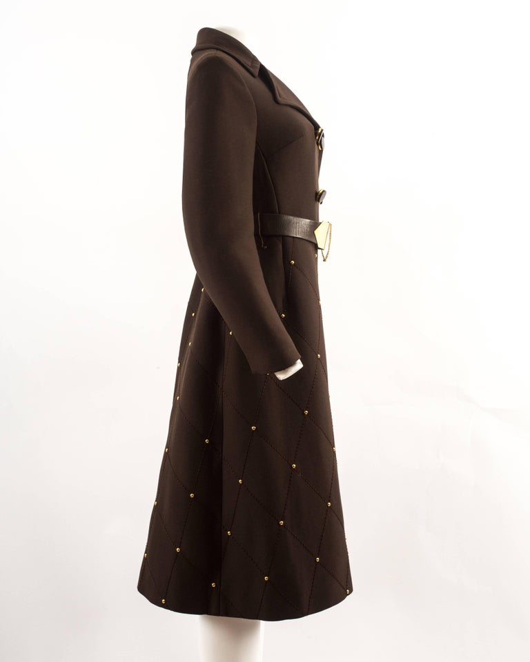 Women's 1960s brown wool coat with gold studs and belt For Sale