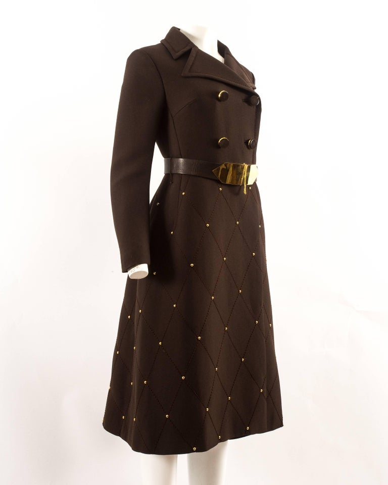 1960s brown wool coat with gold studs and belt, made to a couture standard.