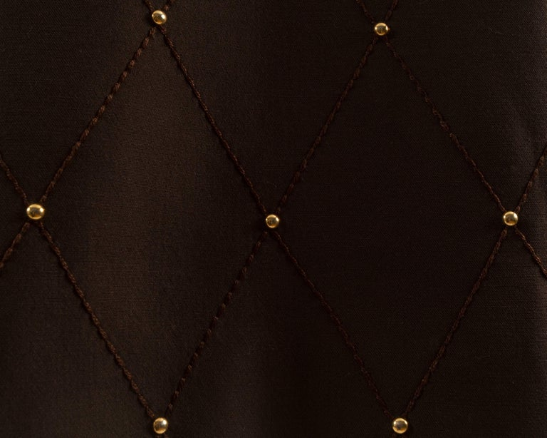 Black 1960s brown wool coat with gold studs and belt For Sale