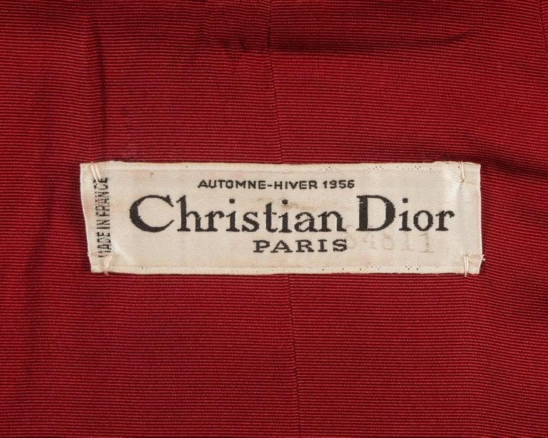 Christian Dior Haute Couture Autumn-Winter 1956 royal red silk velvet opera coat 6