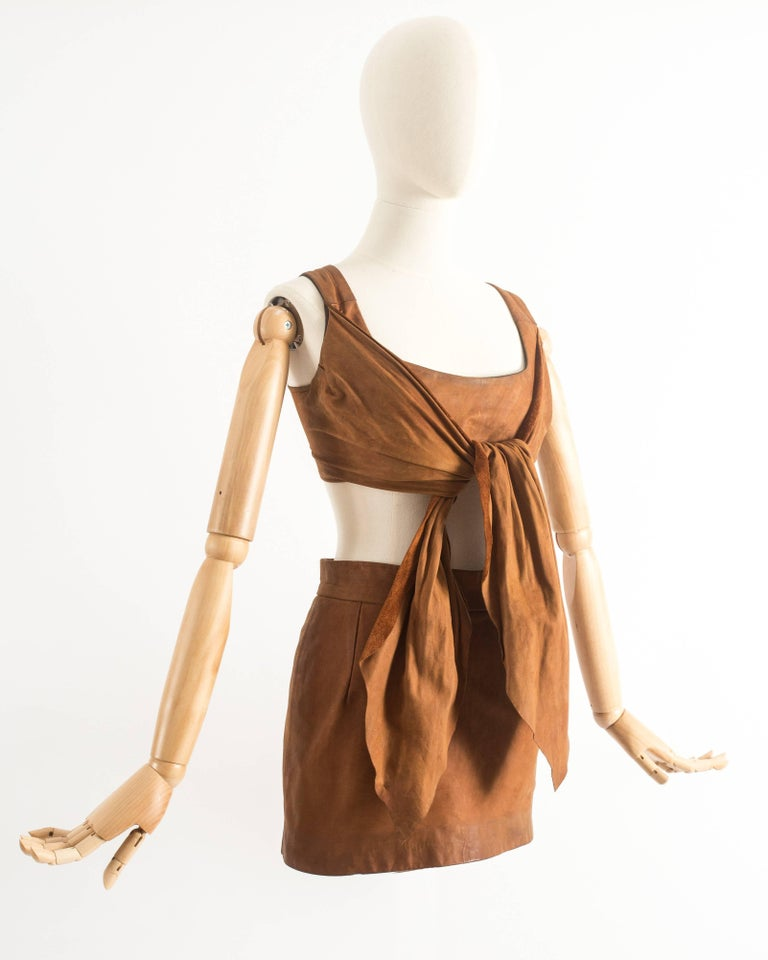 Brown Vivienne Westwood Spring-Summer 1992 brown leather corset and mini skirt  For Sale