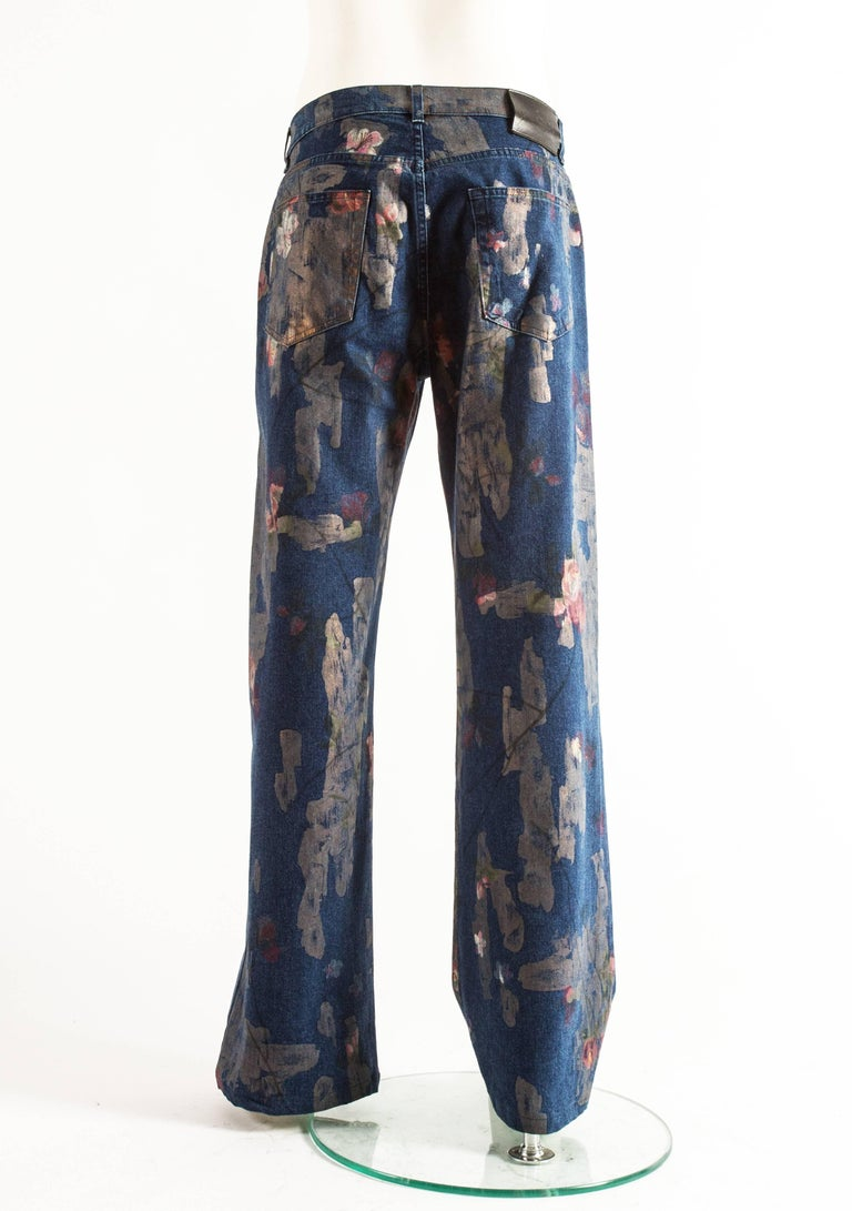 Tom Ford for Gucci Spring-Summer 2001 Men's painted floral denim jeans  For Sale 4