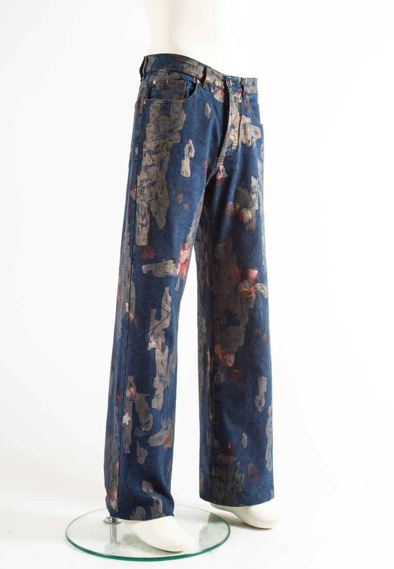 Tom Ford for Gucci Spring-Summer 2001 Men's painted floral denim jeans  In Excellent Condition For Sale In London, GB