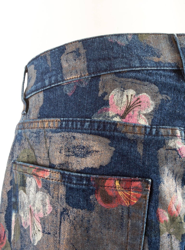 Tom Ford for Gucci Spring-Summer 2001 Men's painted floral denim jeans  For Sale 3