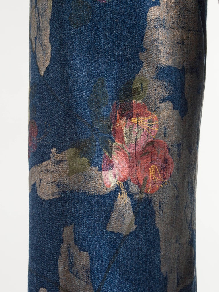 Tom Ford for Gucci Spring-Summer 2001 Men's painted floral denim jeans  For Sale 1