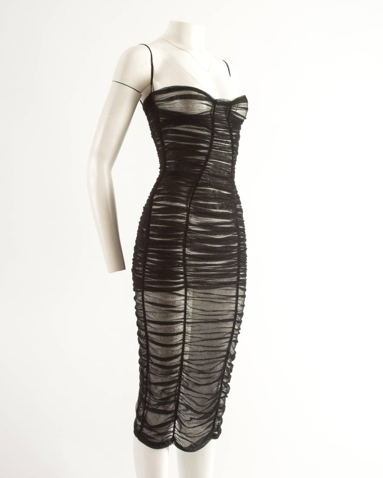 Dolce & Gabbana Spring-Summer 2001 black ruched tulle evening dress 3