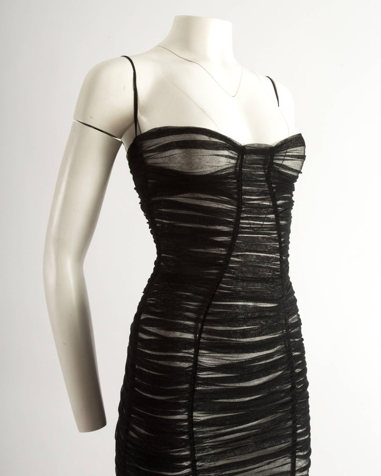 Dolce & Gabbana Spring-Summer 2001 black ruched tulle evening dress In Excellent Condition For Sale In London, GB