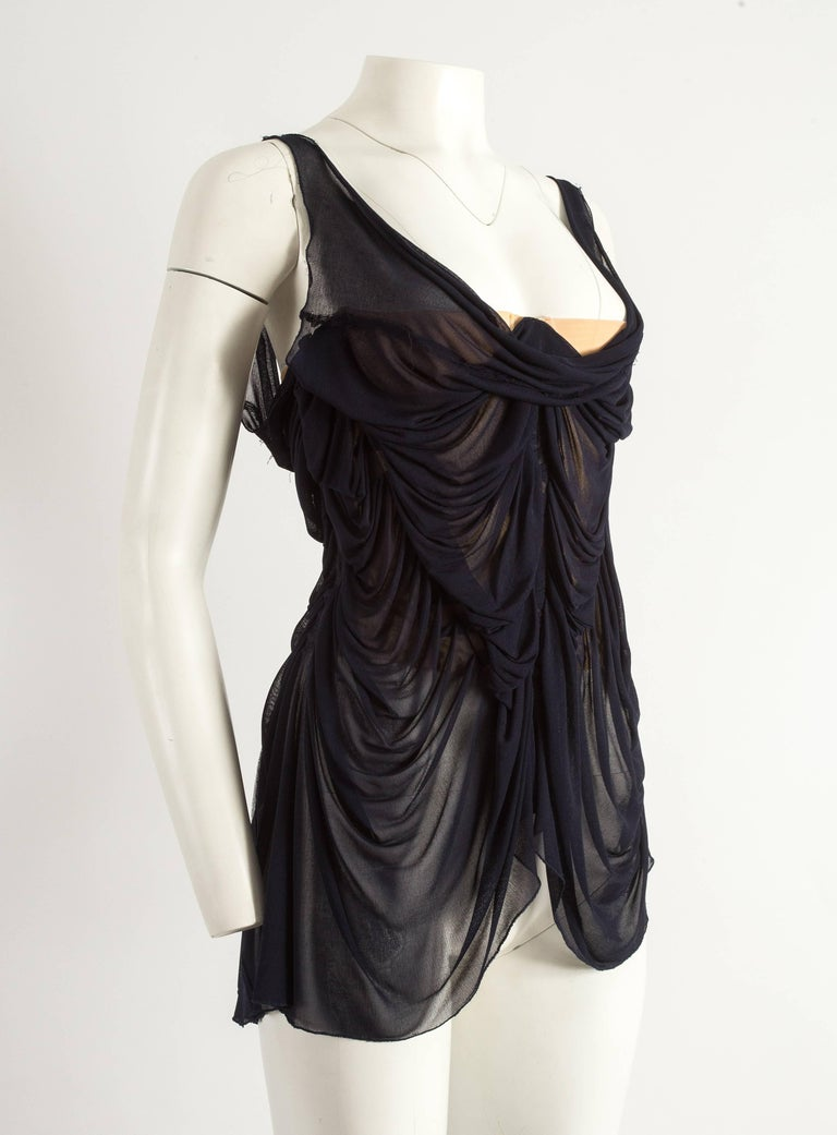 Jean Paul Gaultier Spring-Summer 2004 ruched chiffon corset  In Good Condition For Sale In London, GB