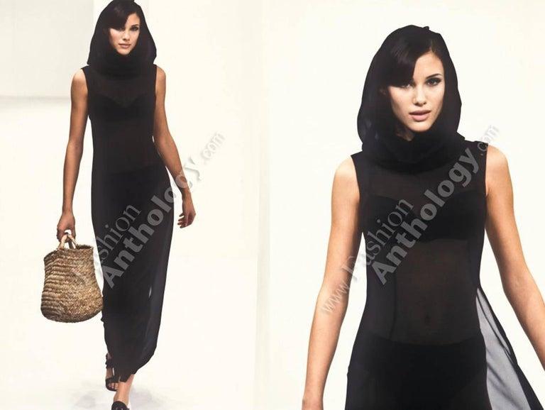 Black Dolce & Gabbana Spring-Summer 1996 black hooded evening dress For Sale