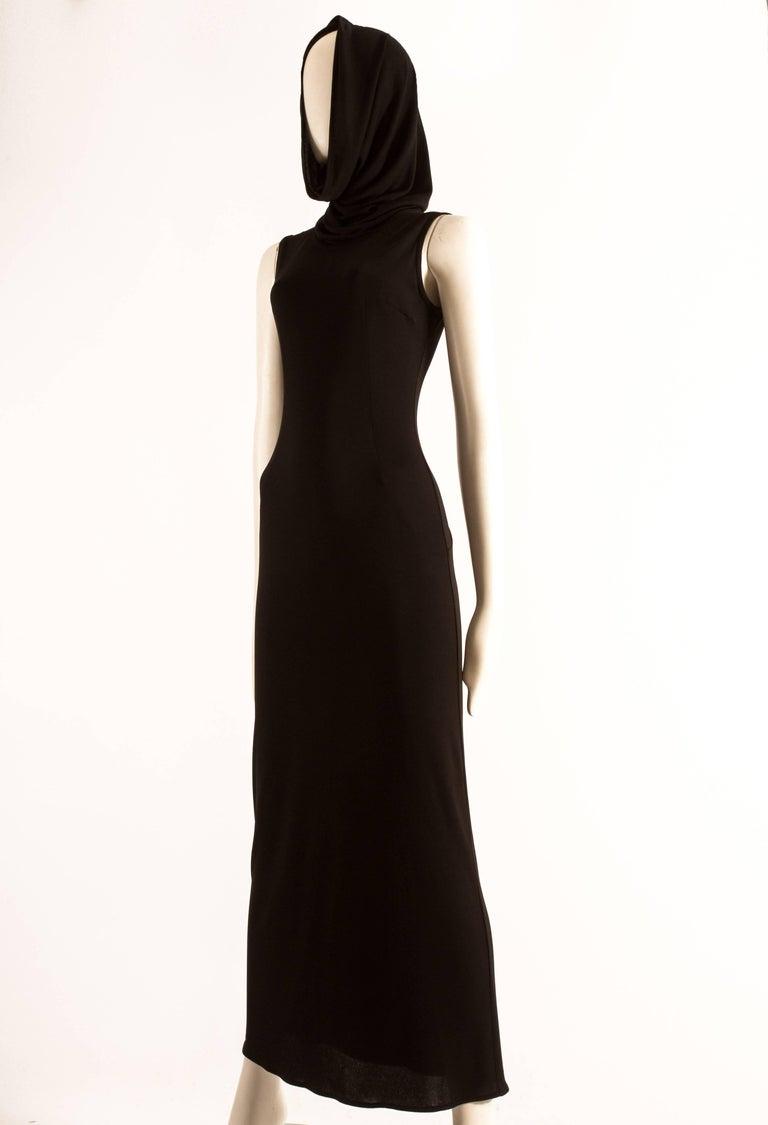 Dolce & Gabbana Spring-Summer 1996 black hooded evening dress For Sale 1
