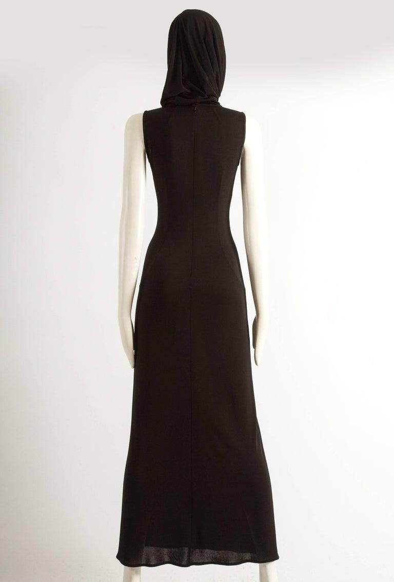 Dolce & Gabbana Spring-Summer 1996 black hooded evening dress For Sale 2