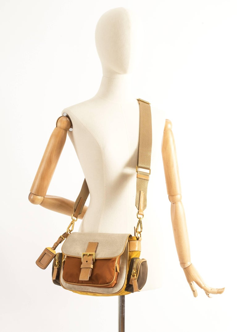 Brown Prada leather, canvas and nylon crossbody bag For Sale