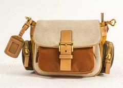 Prada leather, canvas and nylon crossbody bag