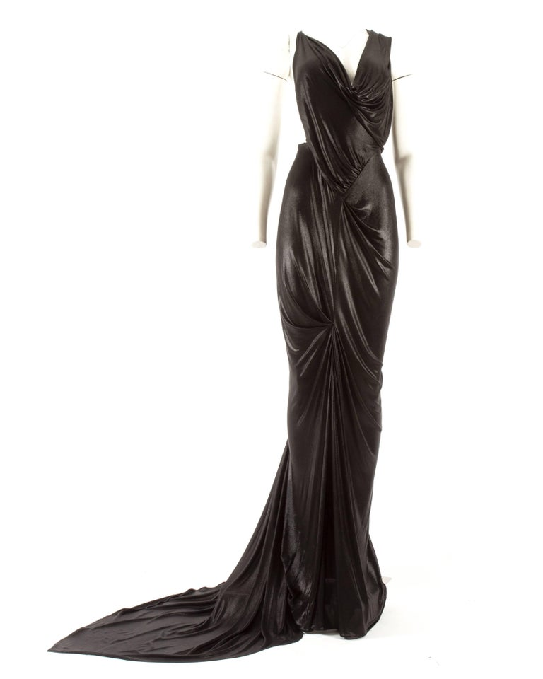 John Galliano backless black evening gown with fringed shawl  For Sale 2