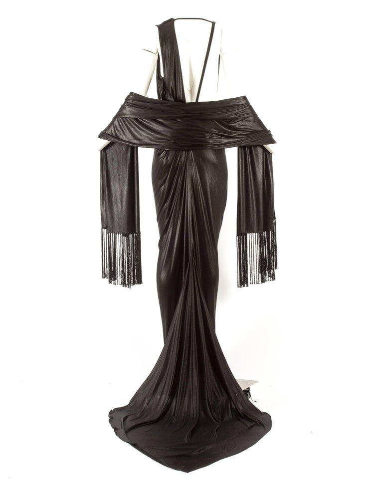 John Galliano backless black evening gown with fringed shawl  In Excellent Condition For Sale In London, GB