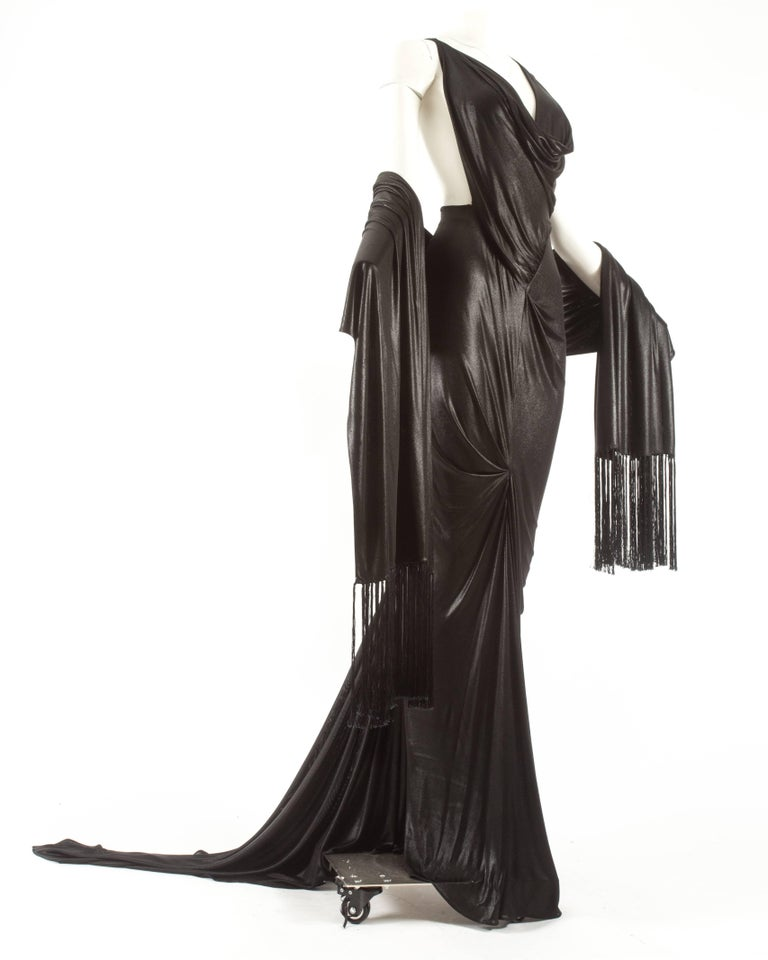 Black John Galliano backless black evening gown with fringed shawl  For Sale