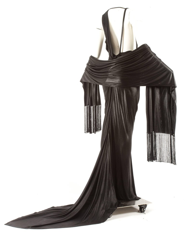 John Galliano backless black evening gown with fringed shawl  For Sale 1