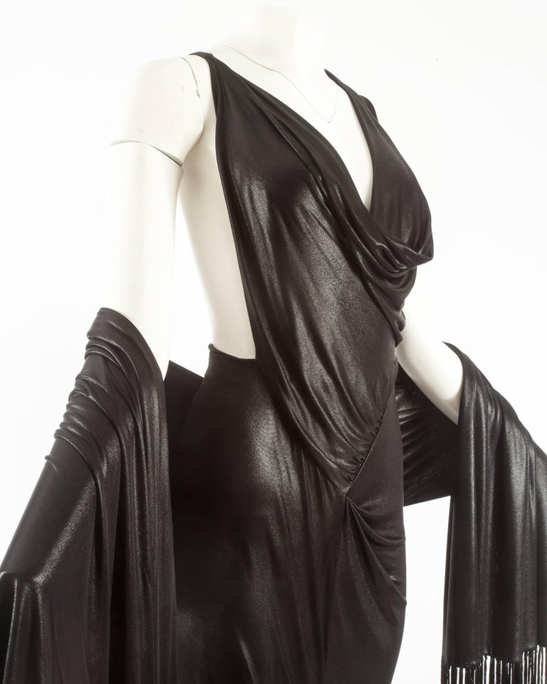 Women's or Men's John Galliano backless black evening gown with fringed shawl  For Sale
