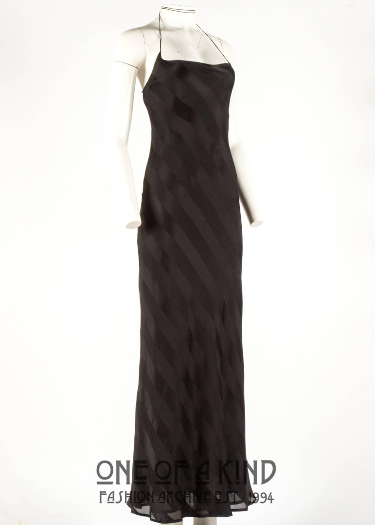 Dolce & Gabbana 1990s black rayon striped halter neck evening dress In Excellent Condition For Sale In London, GB