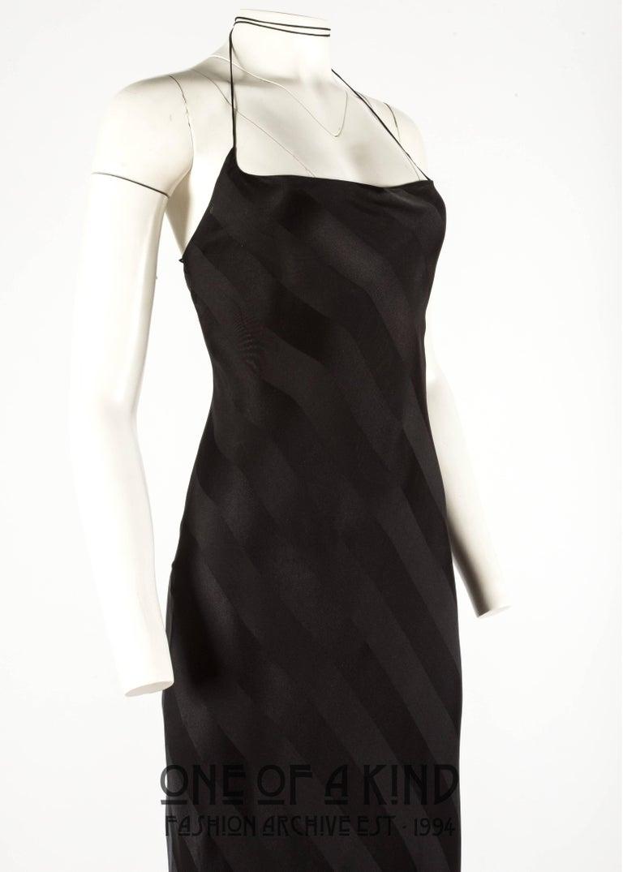 Black Dolce & Gabbana 1990s black rayon striped halter neck evening dress For Sale