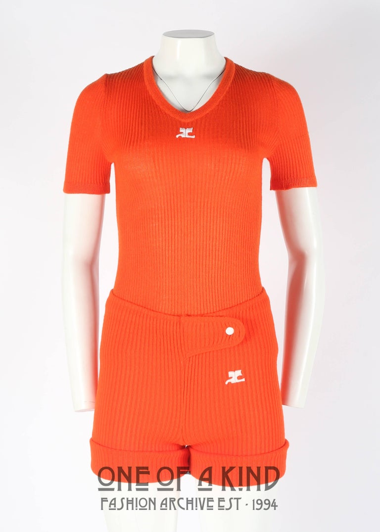Red Courreges 1960s orange rib knit shorts and t-shirt ensemble  For Sale