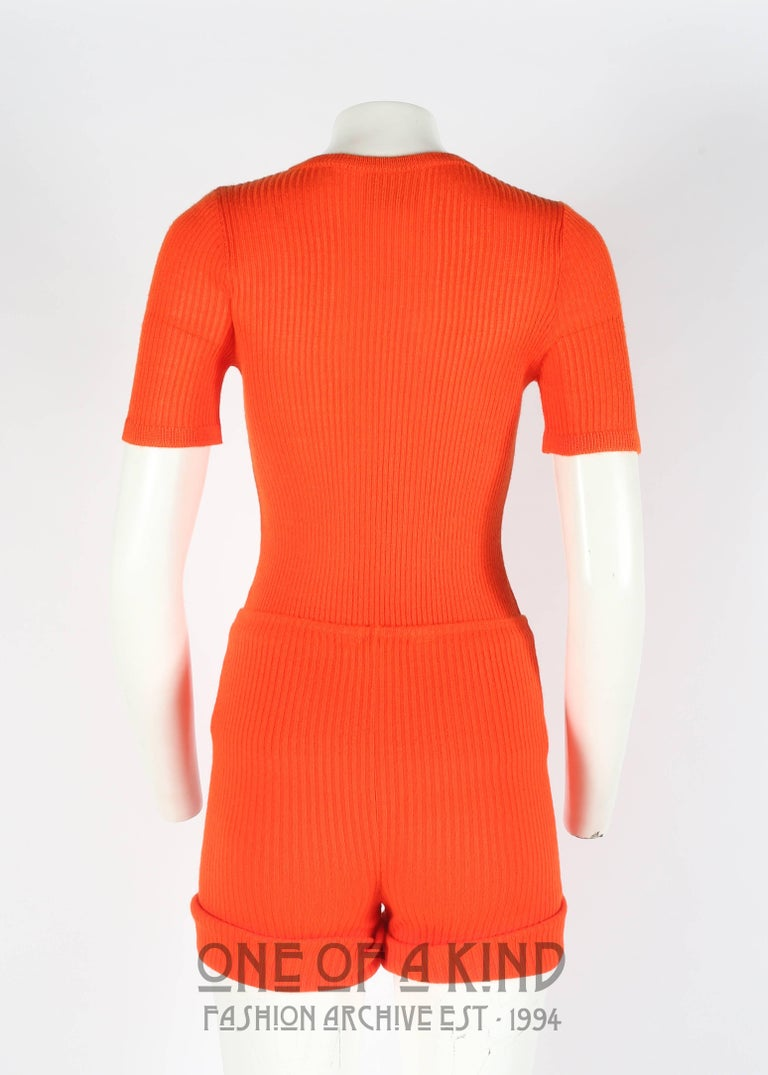 Women's Courreges 1960s orange rib knit shorts and t-shirt ensemble  For Sale