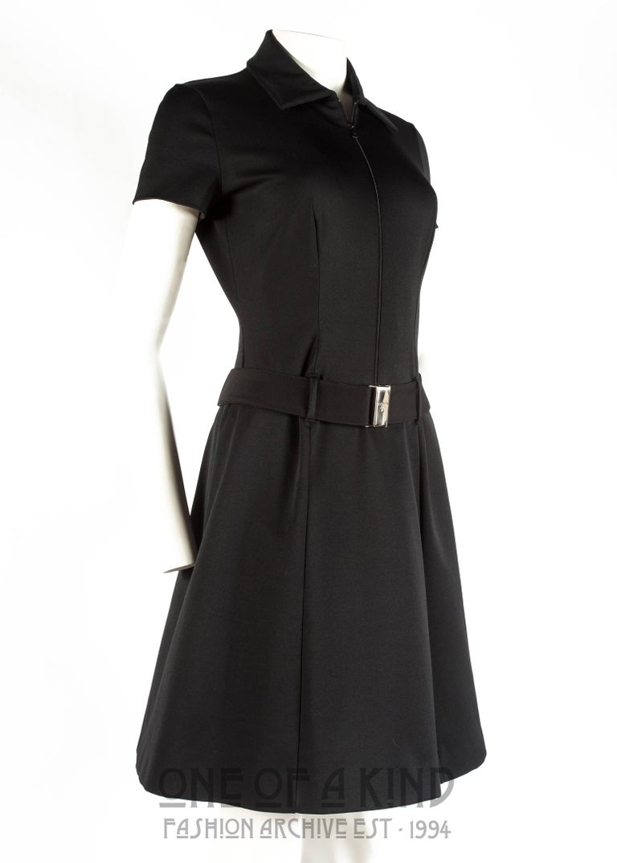 cad95c603d Prada black nylon belted dress