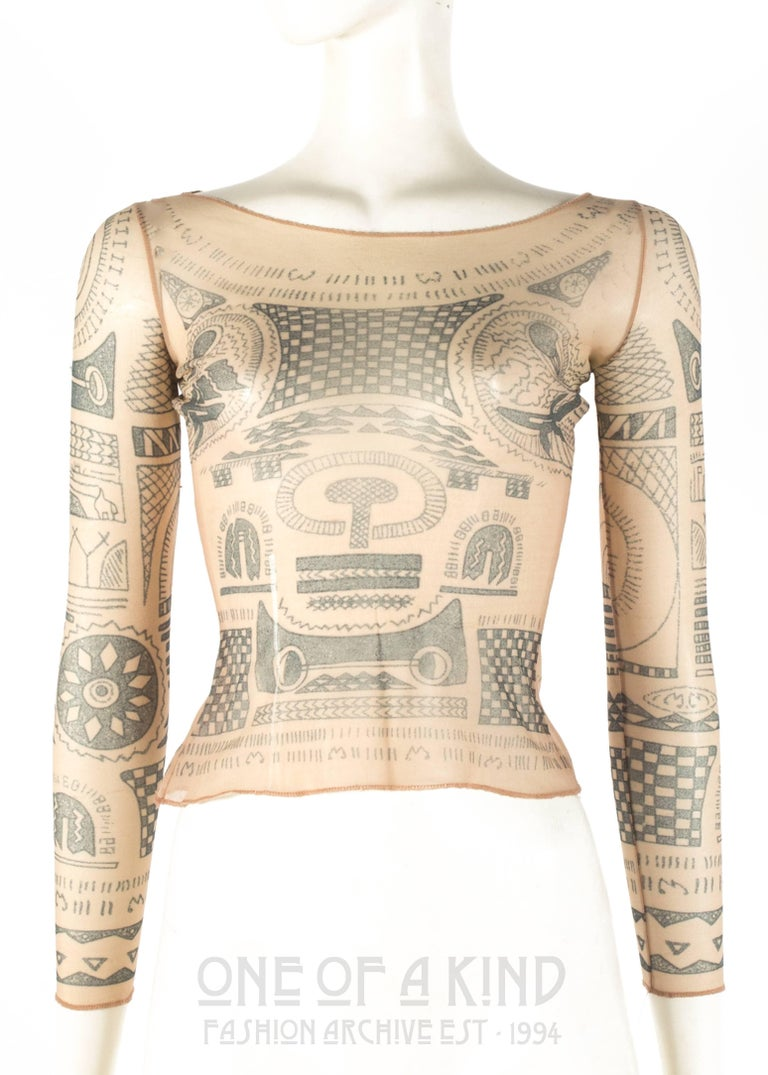 Margiela Spring-Summer 1989 trompe-l'œil tattoo mesh top   * collectors item, from Martin Margiela's first collection