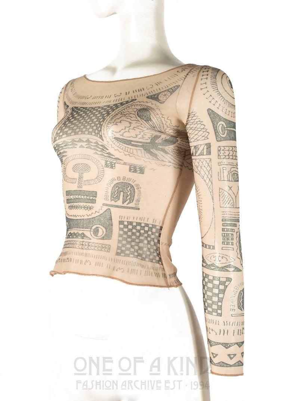 Margiela trompe-l'œil tattoo mesh top, Spring-Summer 1989 In Good Condition In London, GB