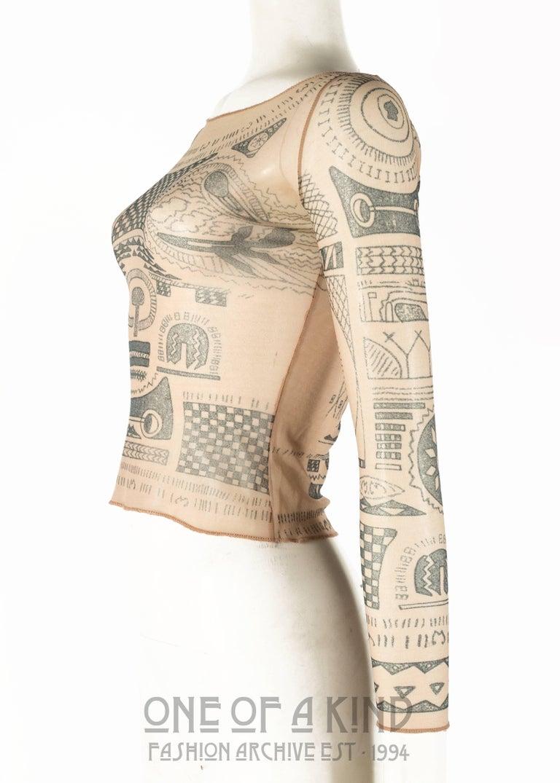 Women's or Men's Margiela trompe-l'œil tattoo mesh top, Spring-Summer 1989