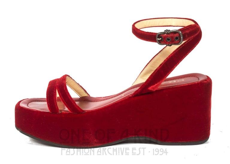 Women's Prada red velvet platform sandals Spring-Summer 1997 For Sale