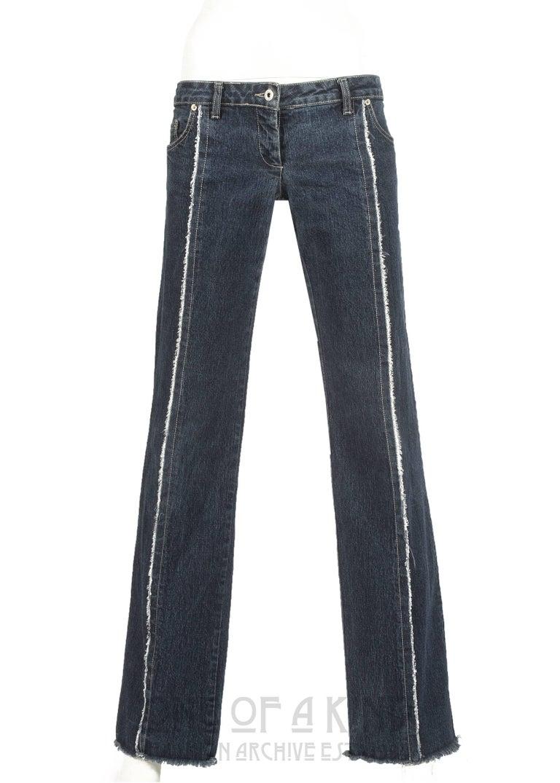 Black Alexander McQueen blue frayed denim bumster pants, Autumn-Winter 1996 For Sale