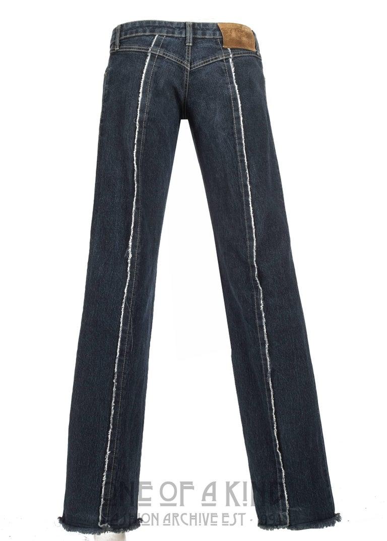 Women's Alexander McQueen blue frayed denim bumster pants, Autumn-Winter 1996 For Sale