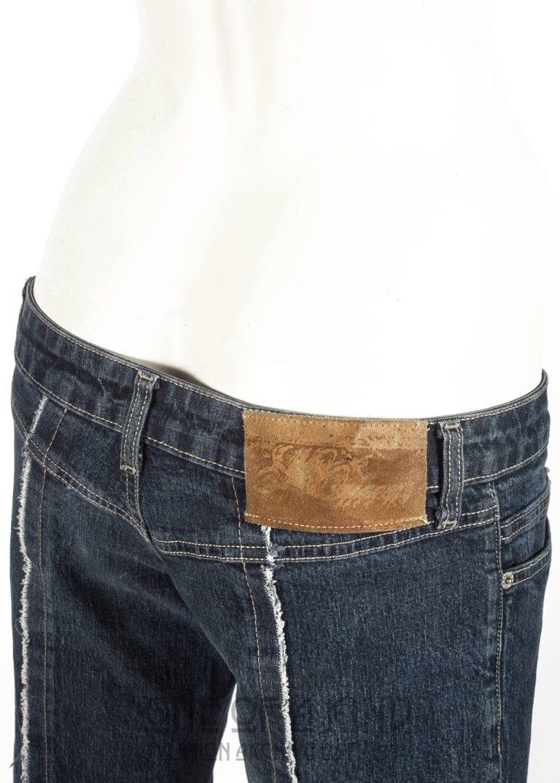 Alexander McQueen blue frayed denim bumster pants, Autumn-Winter 1996 For Sale 1
