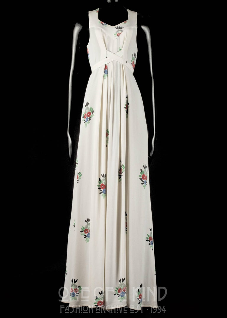 Ossie Clark full length moss crepe maxi dress with Celia Birtwell print and cross over waist fastening