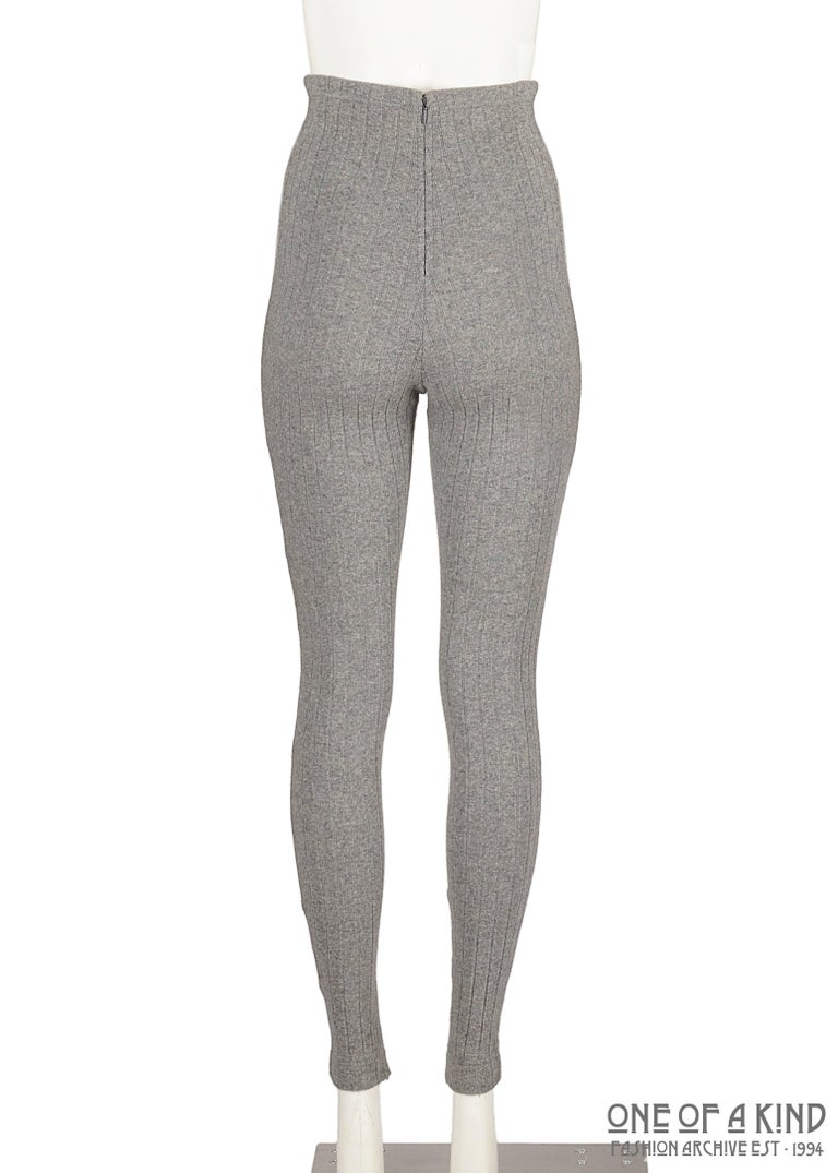 Gray Dolce & Gabbana grey wool ribbed knit high waisted leggings  For Sale
